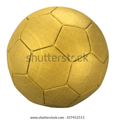 3D rendering of a gold soccer ball - stock photo