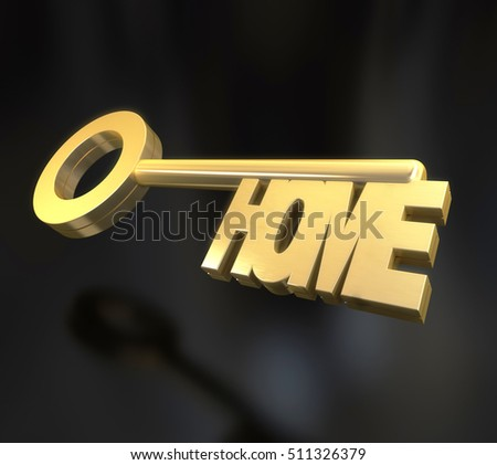 3D rendering of a golden key with the word home against a black background