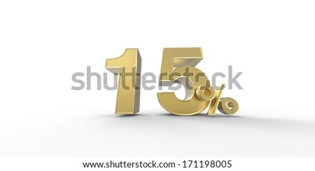 3D rendering of a golden percent
