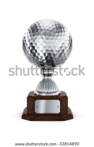 3d rendering of a golf trophy in silver - stock photo