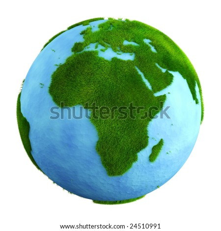 3d rendering of a grass earth with water - Africa