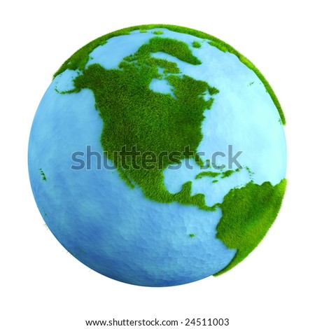 3d rendering of a grass earth with water - North America