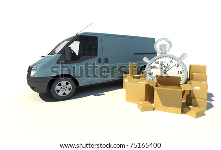 3D rendering of a gray blue van, a pile of boxes and a chronometer - stock photo