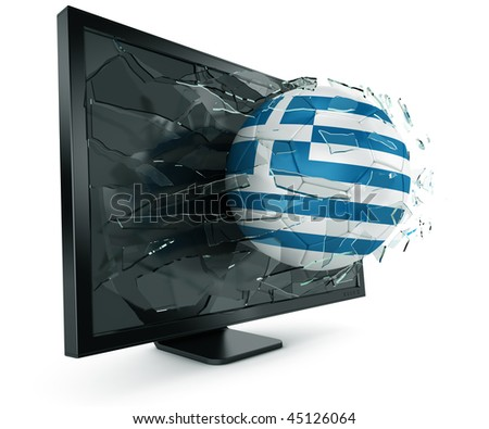 3d rendering of a Greek soccerball breaking through monitor - stock photo