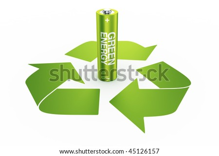 3d rendering of a green battery standing in the middle of a recycle - stock photo