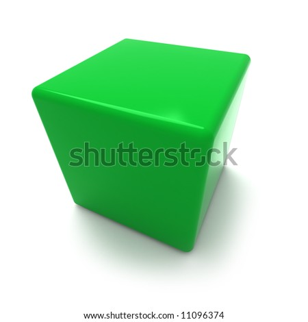 3D rendering of a green cube on a white background
