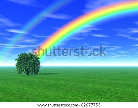 3d rendering of a green field with a tree  under the blue sky and rainbow - stock photo