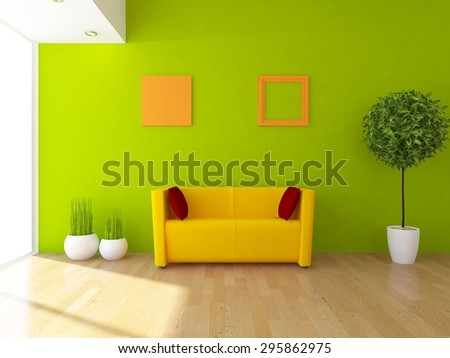 3d rendering of a green interior