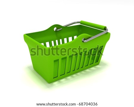 3D rendering of a green shopping basket - stock photo