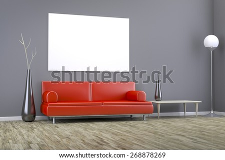 3D rendering of a grey room with a red sofa and space for your content - stock photo