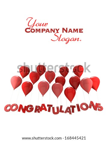3D rendering of a group of balloons with the word congratulations hanging from the strings in red shades  - stock photo