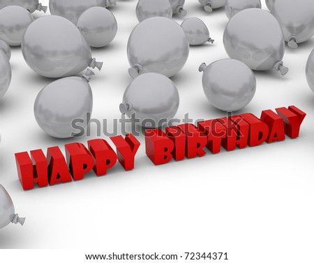 3D rendering of a group of balloons with the words happy birthday - stock photo