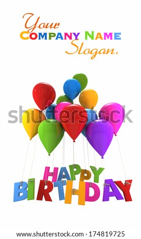3D rendering of a group of balloons with the words happy birthday hanging from the strings in multicolored shades  - stock photo