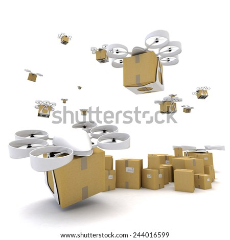 3D rendering of a group of flying drones transporting packages - stock photo