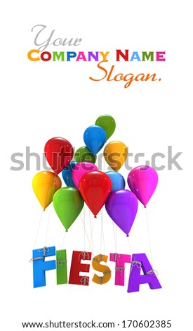 3D rendering of a group of multicolored flying balloons with the word fiesta hanging from the strings  - stock photo