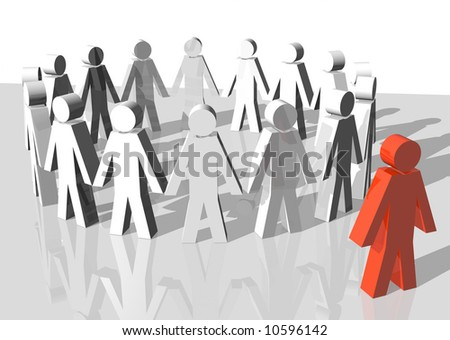 3d rendering of a group of white men excluding a red man
