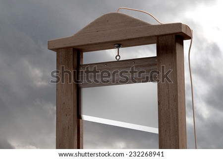 3d rendering of a guillotine, a dead instrument - stock photo