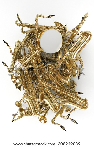 3D rendering of a heap of saxophones and other musical instruments - stock photo