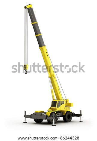3d rendering of a highly realistic mobile crane. - stock photo