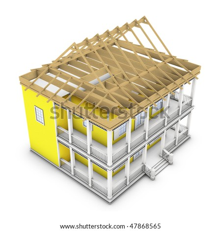 3D rendering of a house in the process of roof construction - stock photo