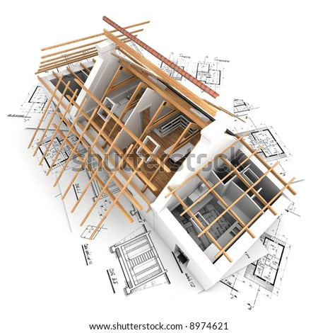 3D rendering of a house in the process of roof construction