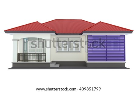 3D rendering of a house on a white background