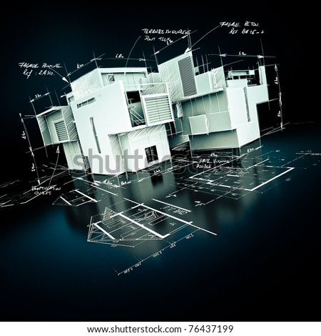 3D rendering of a house project draft, with handwritten notes and drawings - stock photo