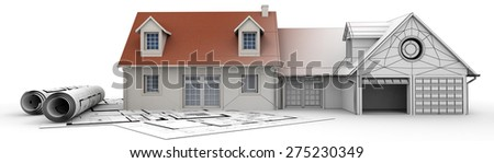 3D rendering of a house project on top of blueprints, showing different design stages - stock photo