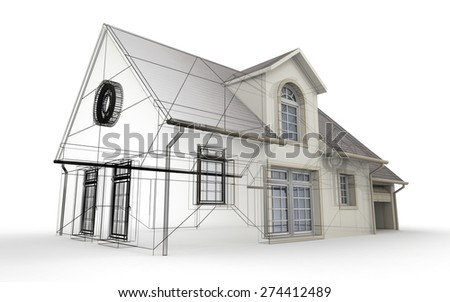 3D rendering of a house project, showing different design stages - stock photo
