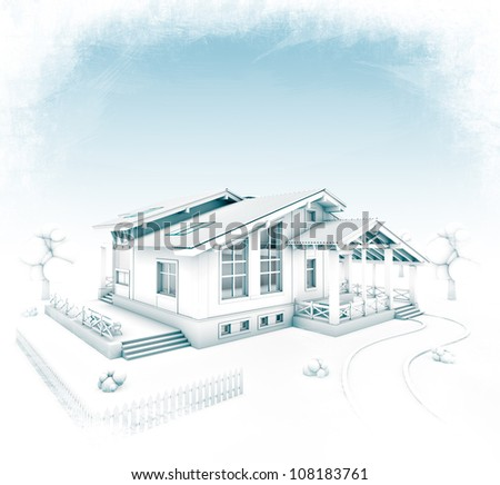 3D rendering of a house project stylized at hand-drawing - stock photo