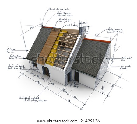 3D rendering of a house showing different layers of roof structure - stock photo