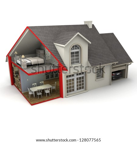 3D rendering of a house showing exterior and interior - stock photo