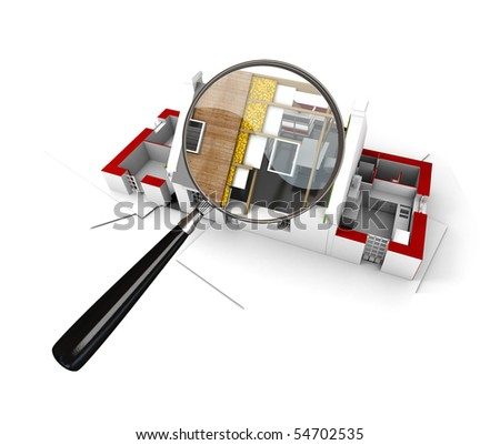 3D rendering of a house under construction scrutinized by a magnifying glass - stock photo