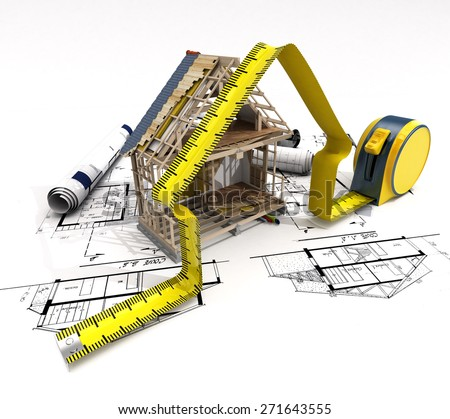 3D rendering of a house under construction with full technical details on top of blue prints, and a measuring tape - stock photo