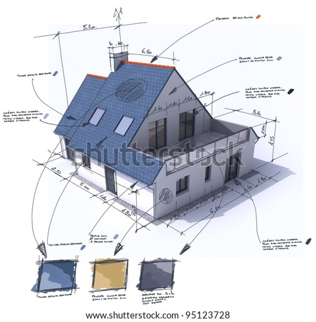 3D rendering of a house with notes, design, and technical specifications - stock photo