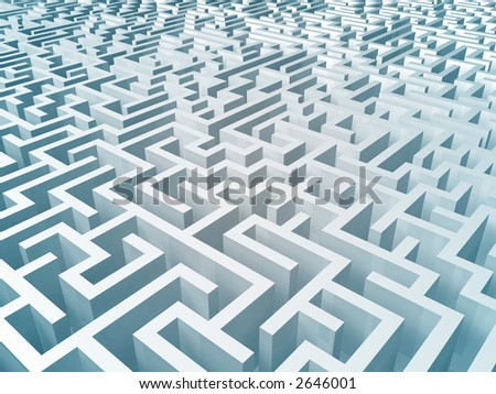 3d rendering of a huge confusing maze. Don't get lost ! - stock photo
