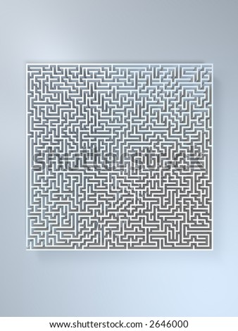 3d rendering of a huge confusing maze. Don't go crazy ! - stock photo