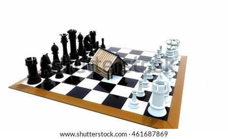 3D rendering of a hut on chess board business concept