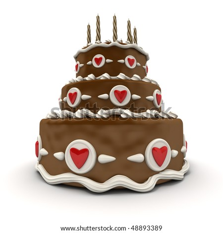 3D rendering of  a impressive chocolate three floor cake with red hearts and candles - stock photo