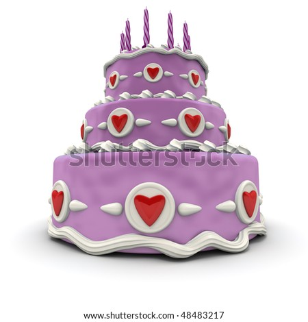 3D rendering of  a impressive pink three floor cake with red hearts and candles - stock photo