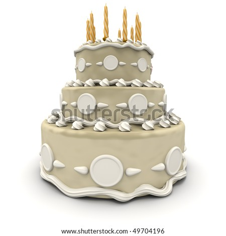 3D rendering of  a impressive wedding three floor cake in white and cream - stock photo