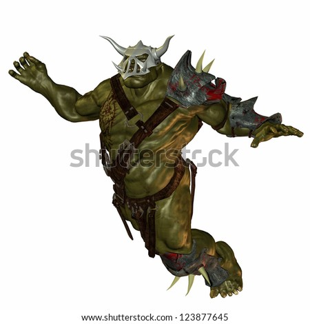 3D rendering of a jumping orc - stock photo