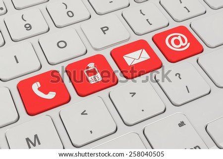 3d rendering of a keyboard with four red keys button and contacting symbols - contact us.
