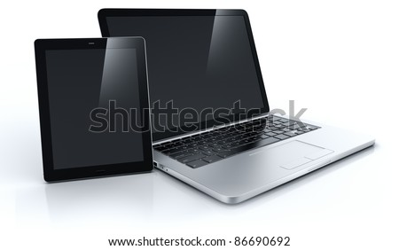 3d rendering of a laptop and a tablet - stock photo