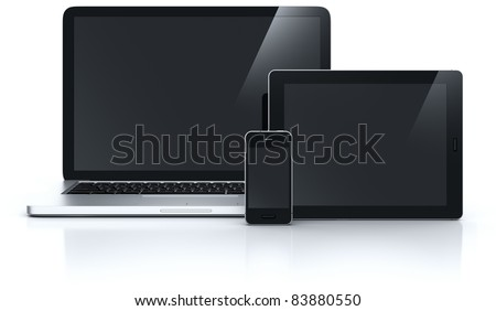 3d rendering of a laptop with a smartphone and tablet
