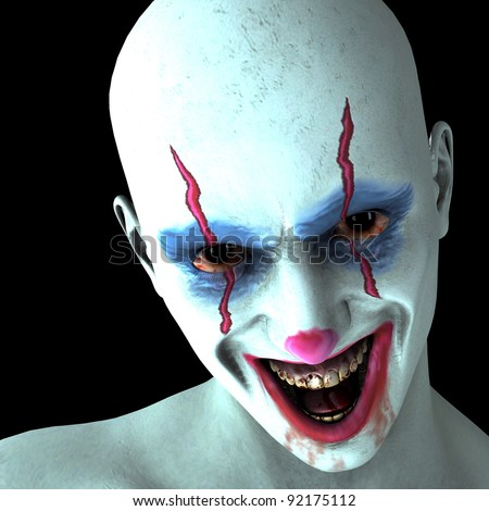 3d rendering of a laughing evil clown as illustration - stock photo