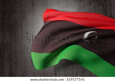 3d rendering of a Libya flag on a dirty background
