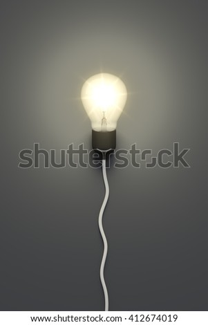 3d rendering of a light bulb on a grey background - stock photo