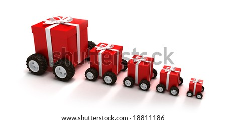 3D rendering of a line of red gift boxes with a white ribbons on wheels