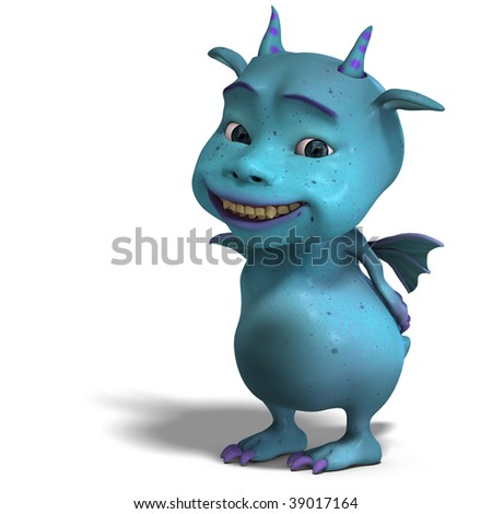 3D rendering of a little blue cute toon dragon devil with clipping path and shadow over white